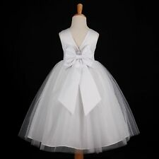 White Wedding Pageant Flower Girl Dress Many Colors 12M 18M 2 4 5/6 7/8 9/10 12