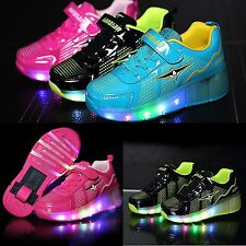 Kids LED Lights Up Roller-skate Heelys Luminous Casual Sportswear Shoes Sneakers