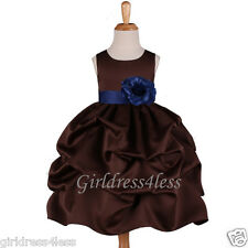 BROWN/NAVY BLUE WEDDING PARTY FLOWER GIRL PICK UP DRESS 6M 12M 18M 2 4 6 8 10 12