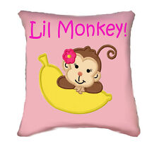Personalised Girl Monkey Cushion Embroidered - add any name, change colours!