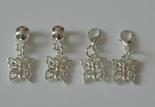 2 x SILVER PLATED BUTTERFLY CHARMS WITH BAIL BEAD OR LOBSTER CLASP EUROPEAN CLIP