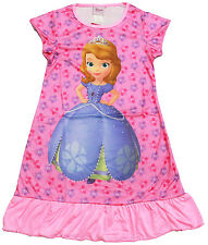 NEW Sz 3~6 KIDS SUMMER PYJAMAS TSHIRT GIRLS NIGHTIE DRESS PRINCESS SOFIA PJS TEE