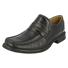 Mens HOOK WORK Black leather slip on by CLARKS G FITTING