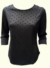 Ladies Black spotted 3/4 sleeve top By Ex chainstore