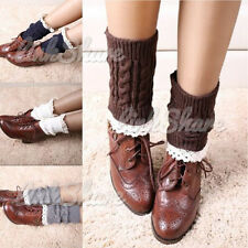 NEW Womens Crochet Knit Lace Trim Leg Warmers Cuffs Toppers Boot Socks st