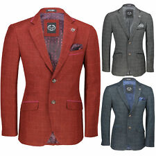 Mens Vintage Tweed Check Blazer Red Grey Blue Designer Formal Fitted Suit Jacket