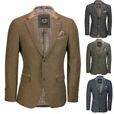Mens Vintage Tweed Herringbone Check Blazer in Grey Brown Green Designer Jacket