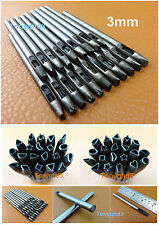 20pcs 3mm Leather Craft Wallet Bag Gasket Hollow Hole Punch Carving Tool Set Kit