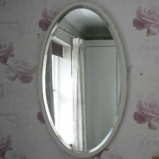Shabby Chic Distressed Bevelled Vintage Wooden White Painted Oval Mirror