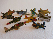 Job lot of 9 ww2 fighter aircraft aeroplane related metal lapel pins