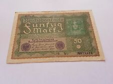 1919 Germany WWI ReichsBanknote 50 Mark Funfzig Mark
