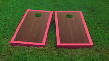 Premium Pink Border Rosewood Stained Cornhole Board Game Set