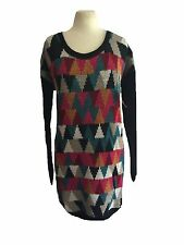DEPT Ladies Knitted Sweater Tunic Dress Long Multicoloured Size S