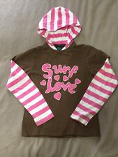Pink Brown Mini Boden Hooded T Shirt Surf Love Age 12 Cute & Cool