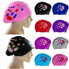Fashion Ladies Swim Cap Waterproof Long Hair Hat Silicone Women Ear Cups Charm