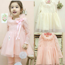 New Long Sleeve Lace Top Tulle Skirt Pink/Yellow Girl Party&Wedding Dress SZ:2-6
