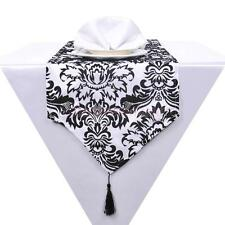 "12""x108"" Table Runner Cloth Damask Flocking Taffeta Wedding Decoration COLORS"