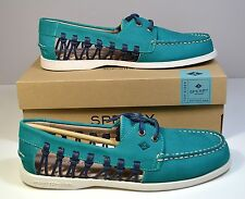 NIB SPERRY TOP SIDER A/O HAVEN LEATHER TEAL NAVY BOAT SHOES SZ 8.5 9.5 11