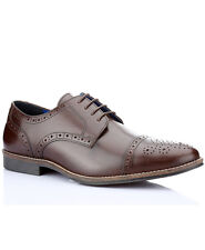 Red Tape Claydon Mens Brown Leather Lace Up Brogue Formal Shoes