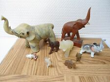 Elephant Figurine Collection * Lot of 9 * Good Luck * Stone - Wood - Brass *