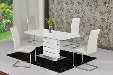 Monte Carlo White EXT 120-160cm High Gloss Dining Table Set + Dining Chairs
