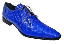 Mauri Bright Blue Alligator Skin Lace Up Oxfords Formal Pointed Dress Shoes