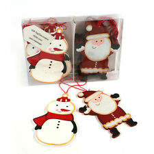 Set of 2 Wooden Santa & Snowman Gift Tags Christmas Tree Decorations