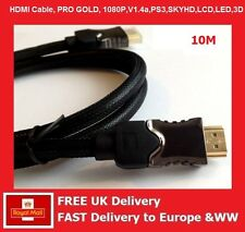 10m HDMI CABLE 1080P 3D v1.4 PREMIUM HD HIGH SPEED ETHERNET GOLD HDMI CABLES