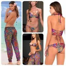 2016 Luli Fama XS S M Gipsy Soul Corset Bikini $190 OR Smocked Cover Up Pants