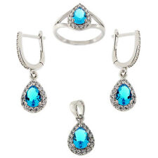 Aqua Blue & White CZ Tear Drop Light Weight Micro Pave 925 Sterling Silver Jewel