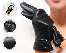 Women Genuine Leather Touch Screen Wrist Winter Evening Gloves 3 buttons Black