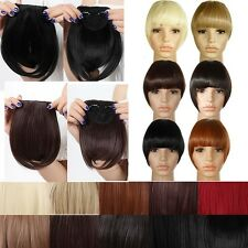 Real Natural Hair Extension Clip In Front Hair Bangs Fringe as Remy Thick Hair