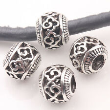 10/20Pcs Tibet Silver Round Flower Charms Big Hole Bead Jewelry Findings 10mm