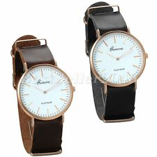 Fashion Ultra Thin Leather Band Dial Casual Mens Women Analog Quartz Wrist Watch