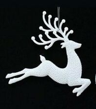 Gorgeous Gisela Graham White glittery reindeer Christmas Tree Decoration 15682