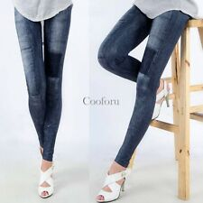 Womens Skinny Pencil Pants Denim Trouser Patch Leggings Jeggings Jeans Stretch