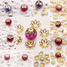 50-200PCS Gold/Silver Plated Metal Hollow Out Flower Shape Bead Caps End Caps