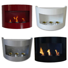 Bio Ethanol Fireplace RIVIERA Wall Fire Place Steel Red Black Silver White