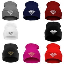 Men Women's New DIAMOND pattern Hip-Hop Cap Beanies Winter Cotton Knit Wool Hats