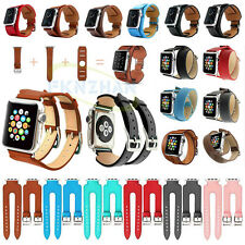 Genuine Leather Cuff /Double Tour /Double Buckle Band Strap For Apple Watch 2 1