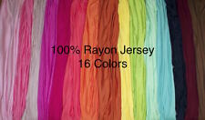 100% Rayon Jersey Knit 6 Ounce Apparel Fabric BTY 16 Colors Stretch Soft