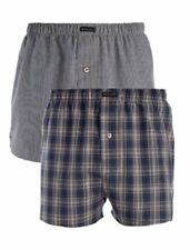 Mens Wolsey 2 Pack Navy Check Cotton Woven Boxer Shorts Underwear UT104