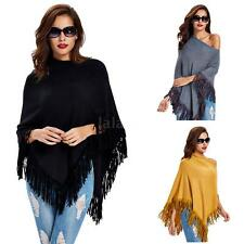 Womens Tassels Poncho Cape Fringed Knitted Sweater Knitwear Outwear Cloak N1O9