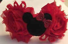 Boutique Girl Toddler Satin FOE Headband Minnie Mouse Bowtique Hot Pink Red Chic