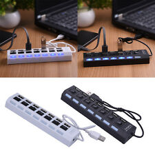 New 7-Port USB 2.0 External Hub + High Speed Adapter ON/OFF Switch for Laptop PC