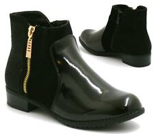WOMENS LADIES CHELSEA GOLD ZIP FLAT LOW BLOCK HEEL ANKLE BOOTS SHOES SIZE 3-8