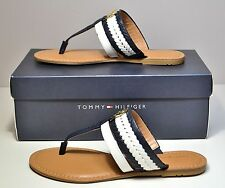 NIB WOMEN TOMMY HILFIGER MED BLUE LADY T STRAP FLIP FLOP SANDALS SHOES SZ 6-8