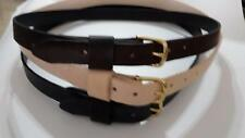 "1"" WIDE REAL LEATHER BELT  3MM THICK SOLID BRASS BUCKLE MEN WOMEN BY RANCH LAND"