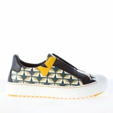 FENDI women shoes green and yellow leather Bug eyes design slip on sneaker