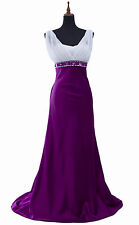 White & Purple woman's Prom Evening Dress Gown Ball Robe Bridemaids sizE 8-22